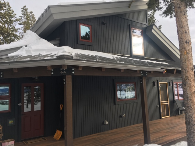 "Installed custom length 5"" K style seamless steel gutter with self-regulating heat cable and SnoGems."