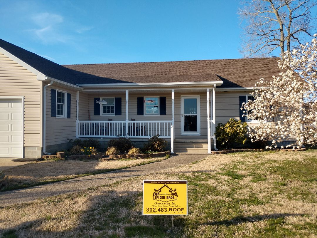 Selbyville, DE - Spicer Bros Construction removed one layer of shingles in Shelbyville, DE and installed new GAF Timberline Ultra HD shingles Barkwood in color