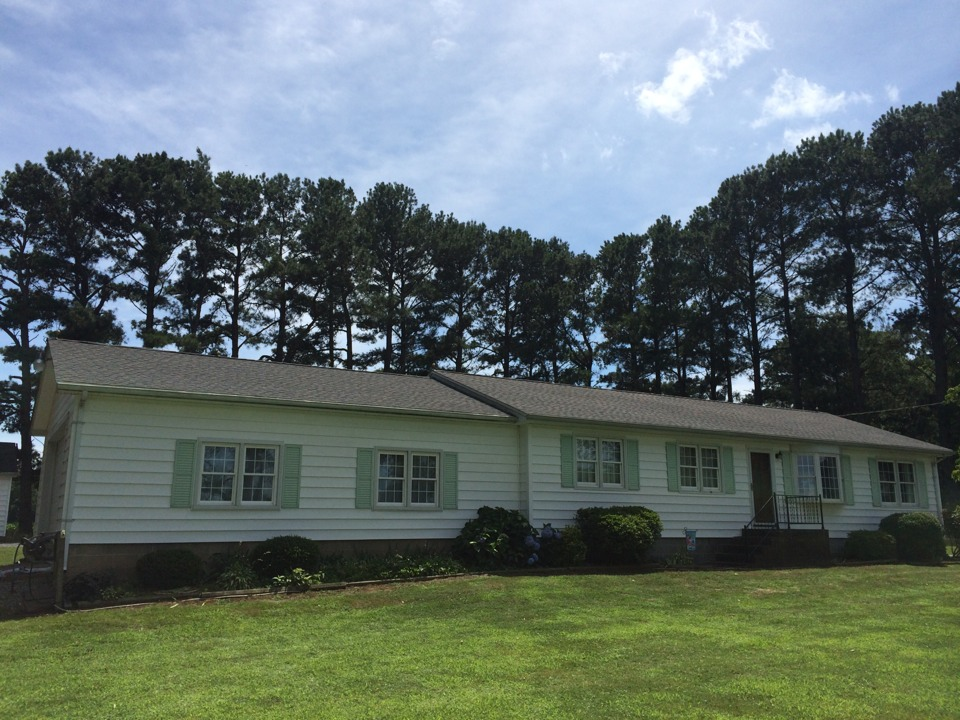 Temperanceville, VA - Spicer Bros. Construction roofing job. Two layer shingle tear off. Installed new GAF Timberline HD Williamsburg Slate shingles. Home is located in Temperanceville Va.