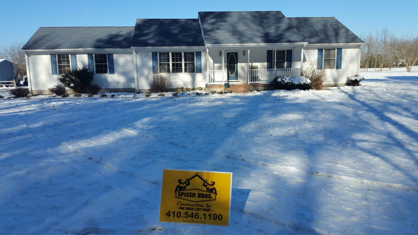 Delmar, MD - Spicer Bros Constuction removed one layer of shingles in Delmar, MD and install new GAF Timberline HD shingles Biscayne Blue in color on Landing lane
