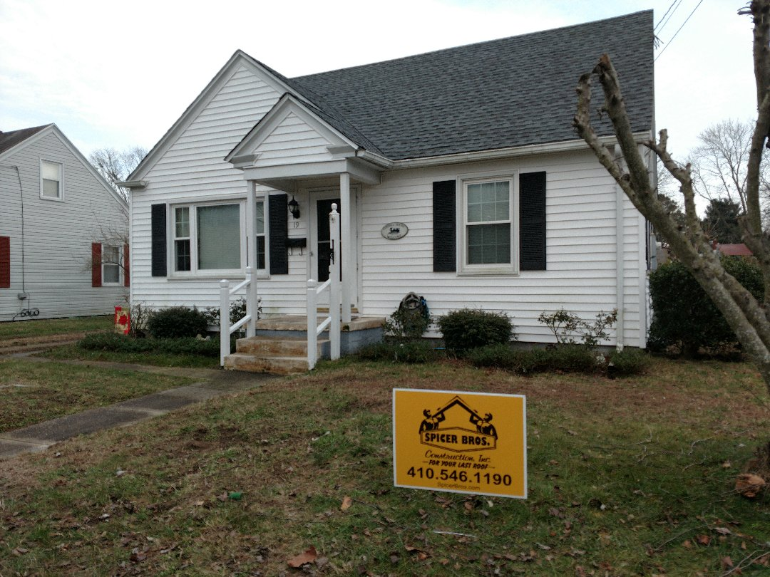 Pocomoke City, MD - Spicer Brothers Construction, Inc. removed one layer of shingles in Pocomoke City, Maryland. New GAF Timberline HD shingles in Pewter Gray were installed.