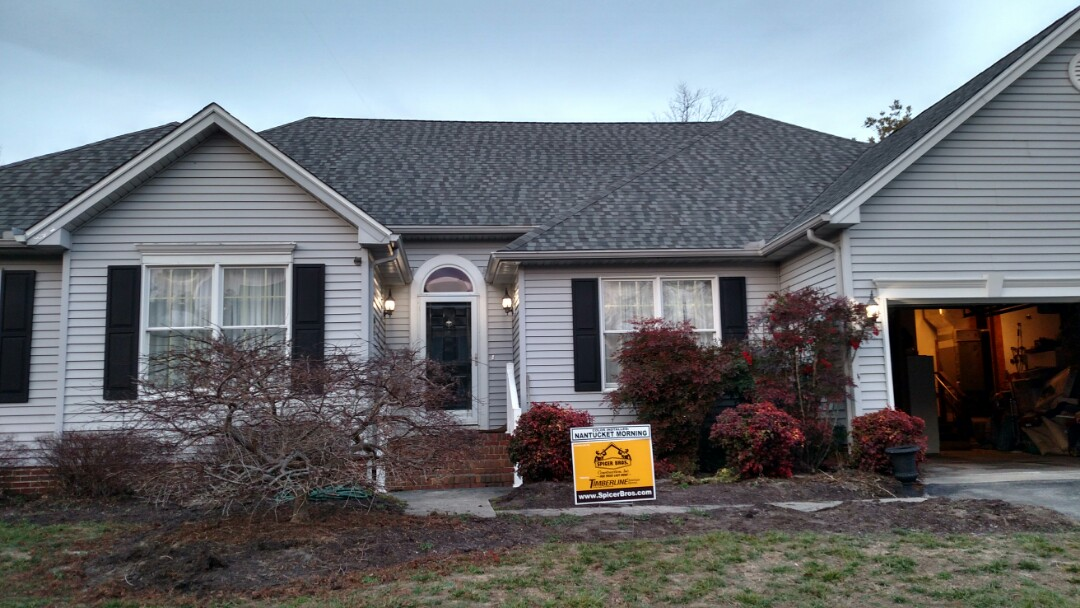 Salisbury, MD - Another new roof installed by Spicer Bros construction in Salisbury Maryland using GAF Timberline American Harvest shingles the color is Nantucket morning