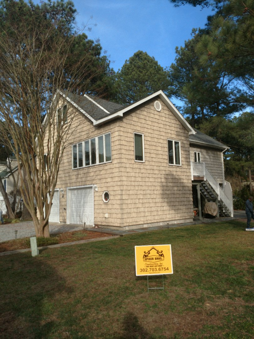 Bethany Beach, DE - Spicer Bros Construction removed one layer of shingles in Bethany Beach De and installed new GAF Ultra Timberline HD shingles Pewter Gray in color on Cleveland Avenue.