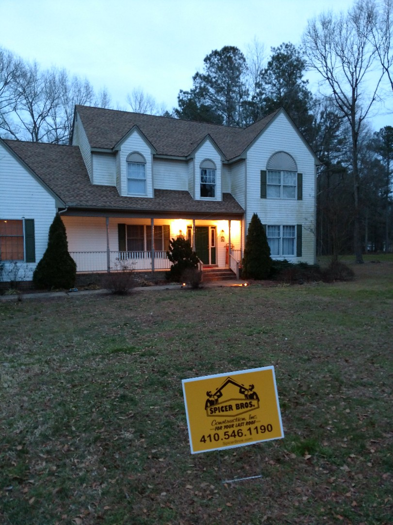Snow Hill, MD - Spicer Brothers Construction removed one layer shingles in Snow Hill Maryland and installed new GAF Timberline Ultra HD Shakewood in color