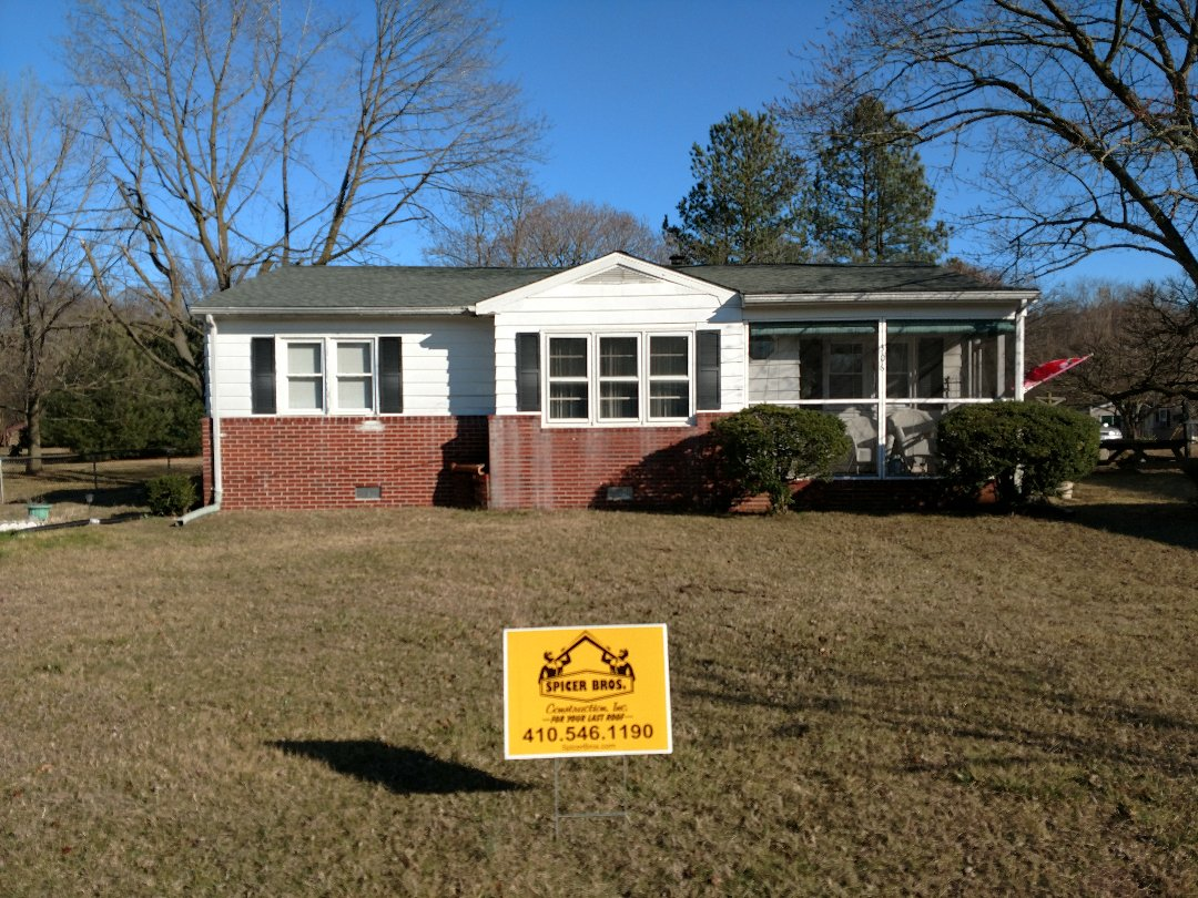 Millington, MD - Spicer Brothers removed one layer shingles in Millington Maryland installed new GAF Timberline HD shingles Slate in color.