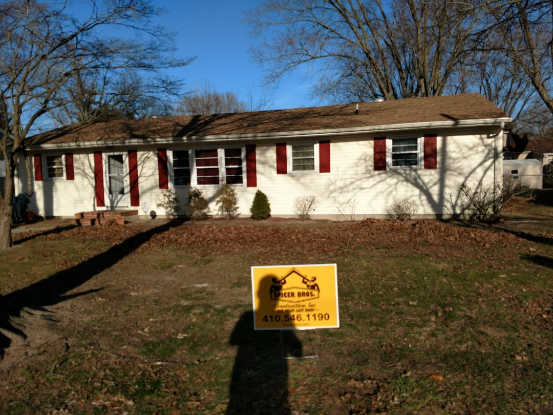 Salisbury, MD - Spicer Bros Construction removed two layers of shingles in Salisbury, MD and installed new GAF Timberline HD shingles Shakewood in color.