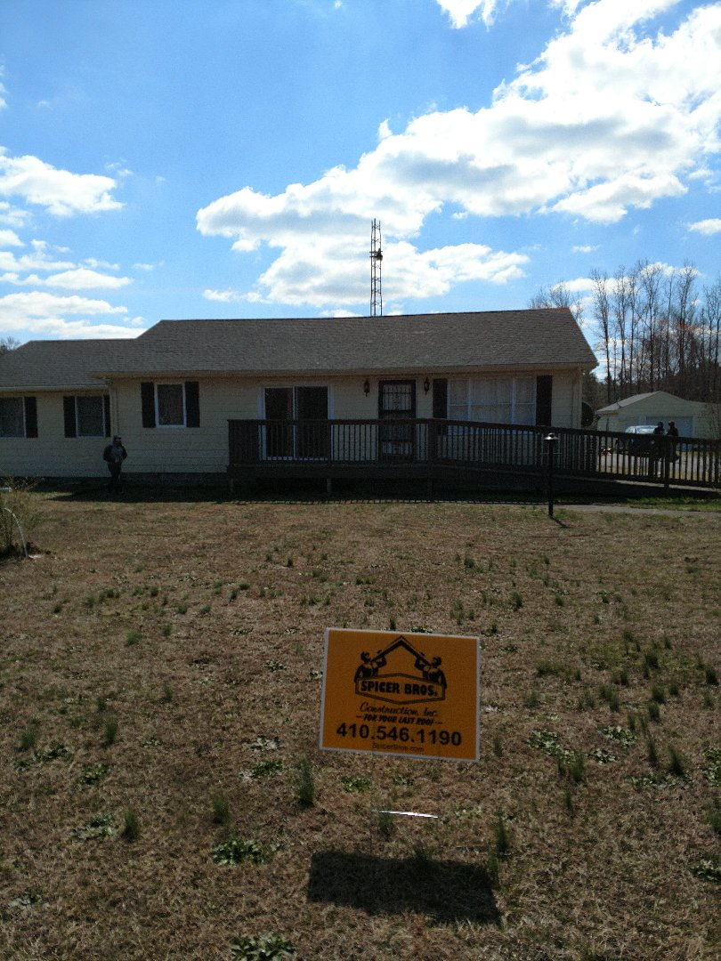 Pocomoke City, MD - Spicer Bros Construction removed one layer of shingles in Pocomoke City , MD and installed new GAF Timberline HD shingles Hunter green In color
