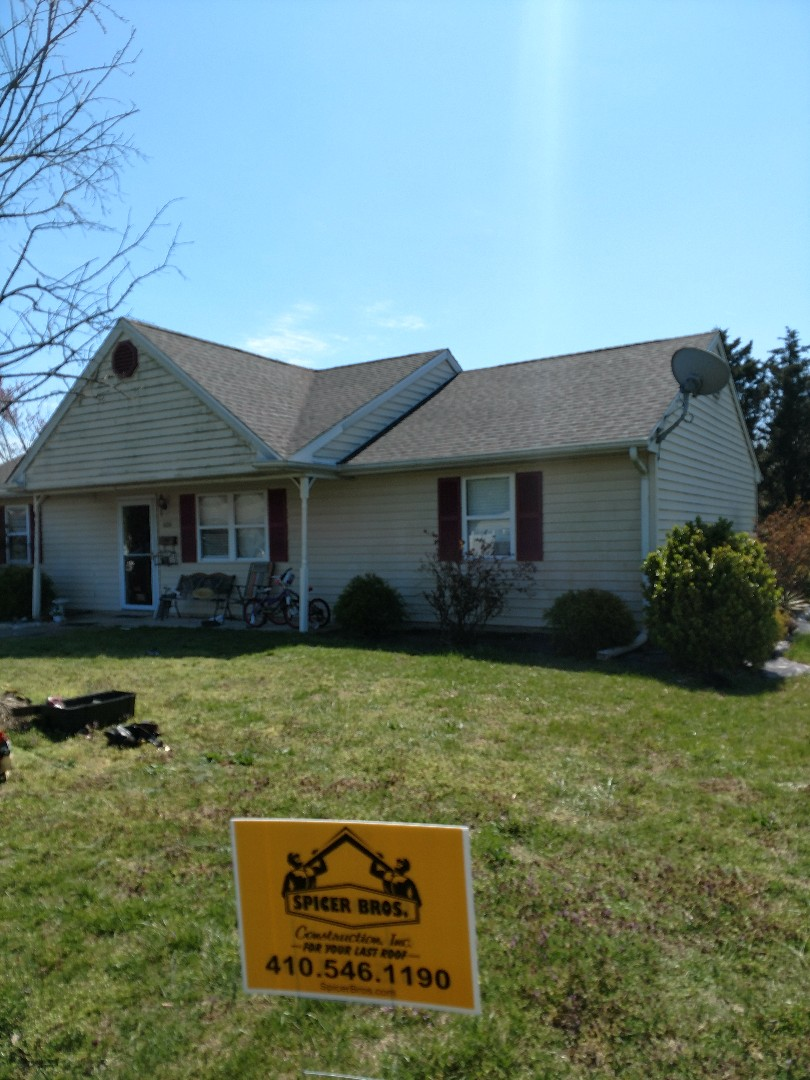 Delmar, MD - Spicer Bros Construction removed one layer of shingles in Delmar, MD and installed new GAF Timberline HD shingles Williamsburg Slate in color.