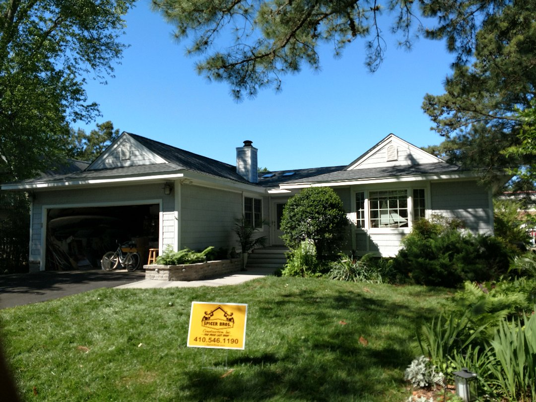 Ocean Pines, MD - Spicer Bros Construction removed one layer of shingles in Berlin MD and installed new GAF Timberline HD shingles Pewter Gray in color.