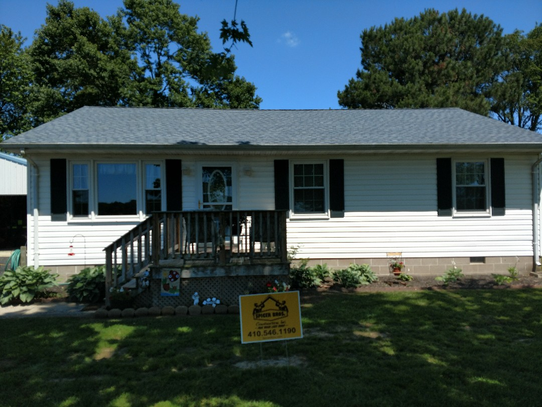 Snow Hill, MD - Spicer Bros Construction removed one layer of shingles in Snow Hill MD and installed new GAF Timberline HD shingles Biscayne Blue in color