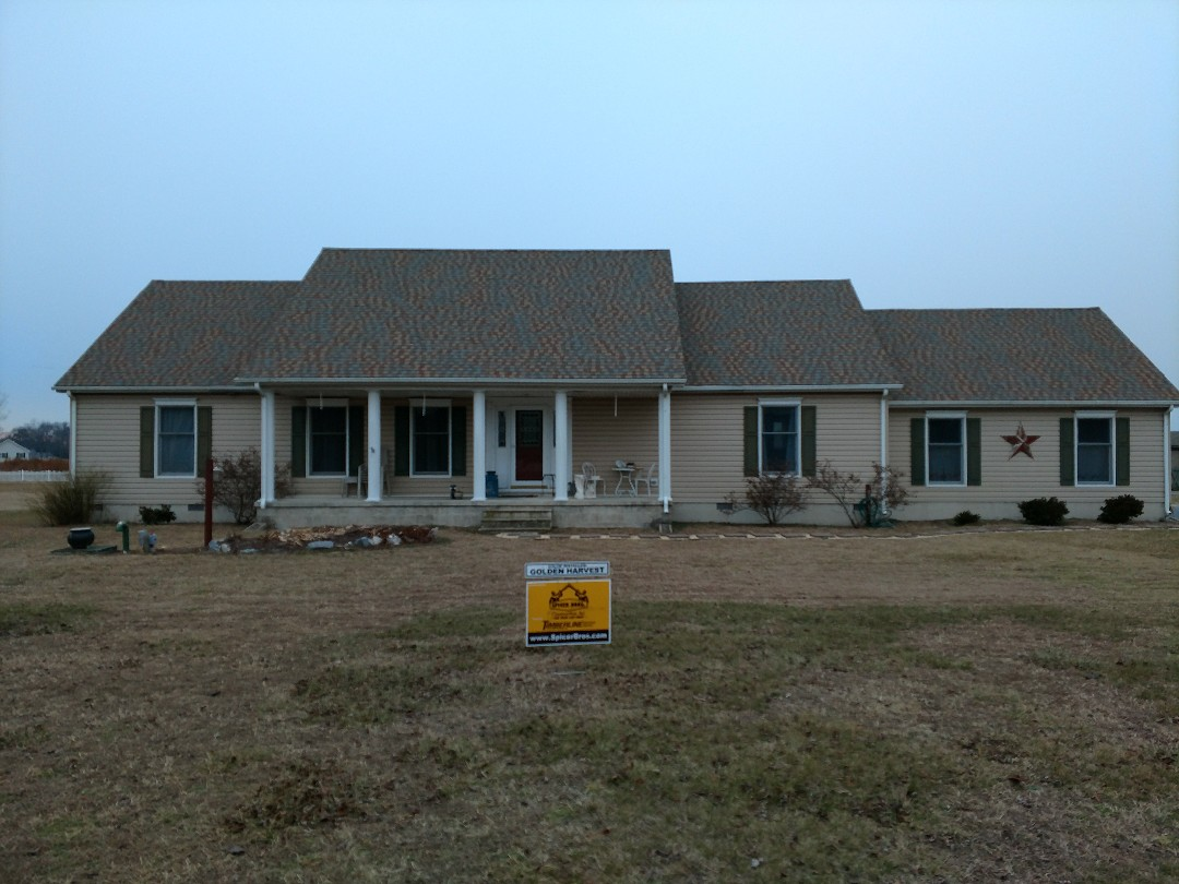 Laurel, DE - Spicer Bros Construction removed one layer of shingles in Laurel, DE and installed new GAF Timberline HD American Harvest. Golden Harvest in color on Laurel Road.
