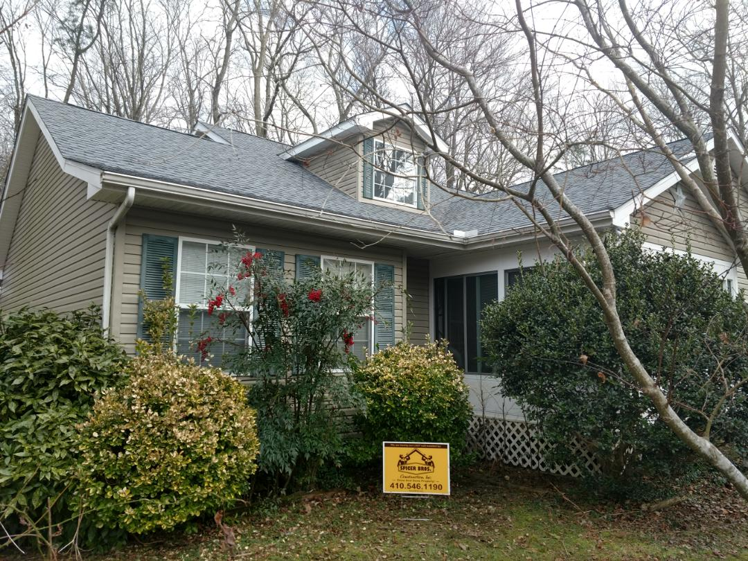 Ocean Pines, MD - Spicer Bros Construction removed one layer of shingles in Ocean Pines, MD and installed new GAF Timberline HD shingles Oyster Gray in color