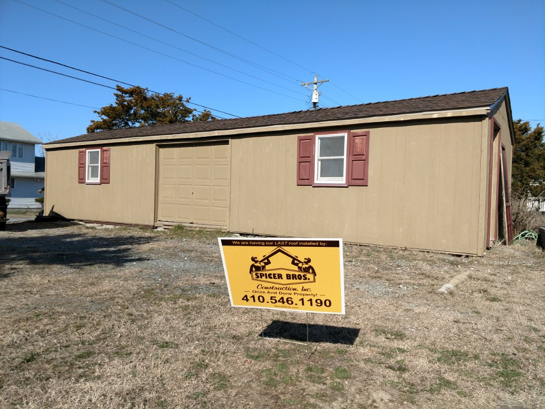 Milford, DE - Spicer Bros Construction removed one layer of shingles in Milford, DE and installed new GAF Timberline Ultra HD shingles Hickory in color.