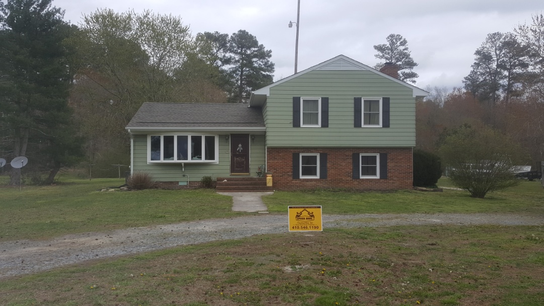 Marion Station, MD - Spicer Bros Construction removed one layer of shingles from the roof deck and installed new GAF Timberline Ultra HD Shingles, Weathered Wood is the color. Job is located in Marion Station, M.D.