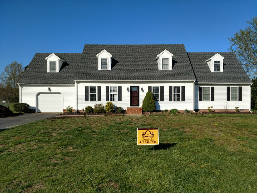 Hebron, MD - Spicer Bros Construction removed one layer of shingles in Hebron, MD and installed new GAF Timberline HD shingles Pewter Gray in color.