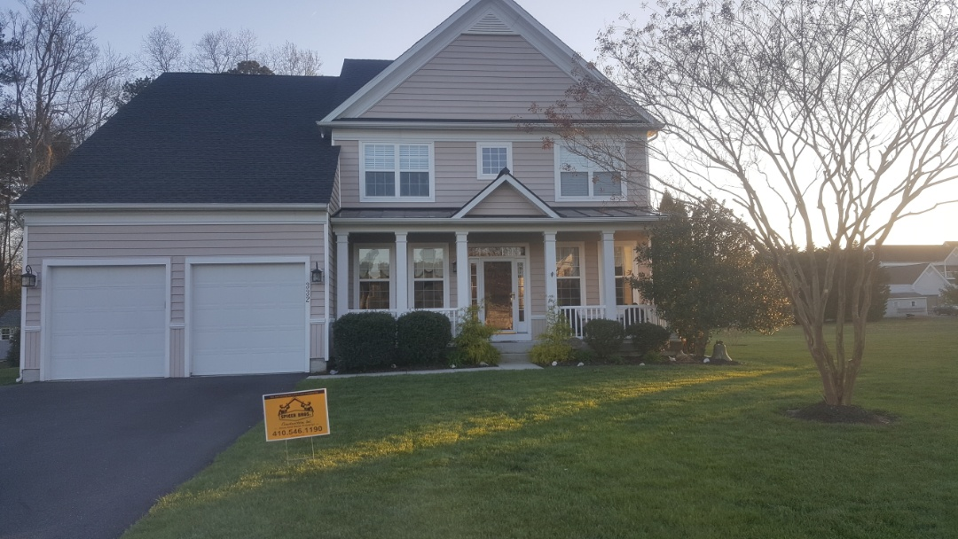 Delmar, MD - Spicer Bros Construction removed one layer of shingles from the roof deck and installed new GAF Timberline HD Shingles, Charcoal in color. Home is located in Berlin, MD.