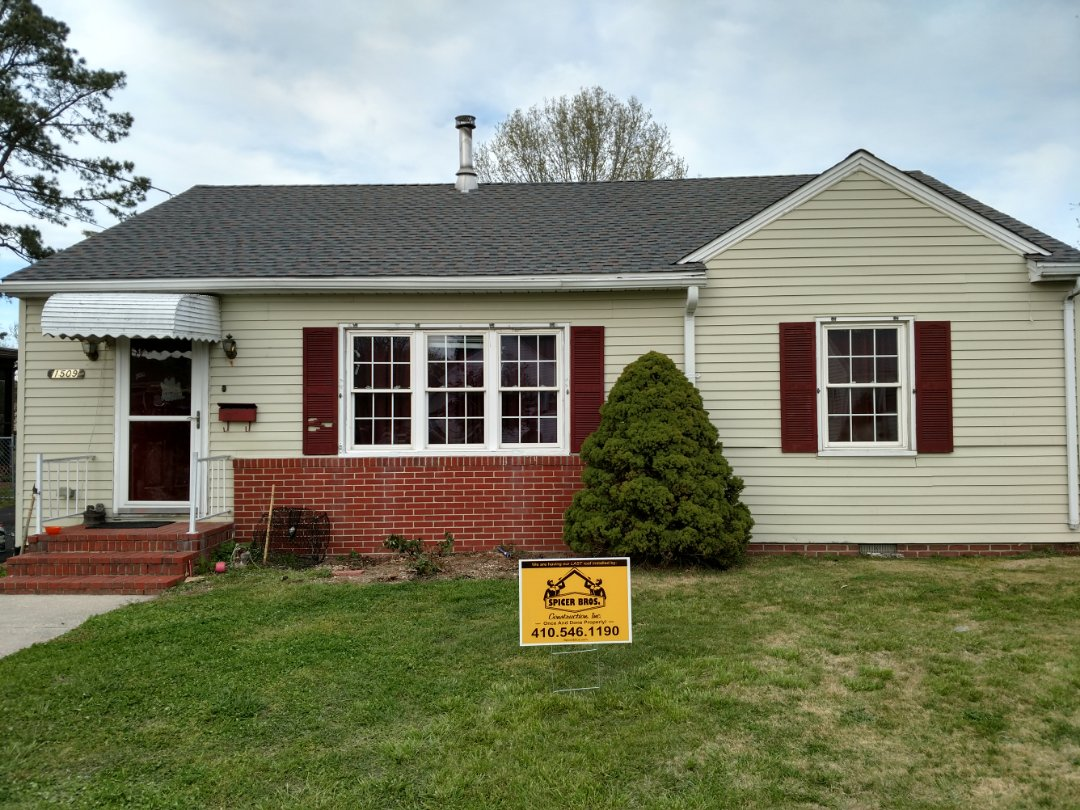Pocomoke City, MD - Spicer Bro's Contraction removed multiple layers in Pocomoke City, MD and installed new GAF Timberline HD shingles Williamsburg Slate in color.