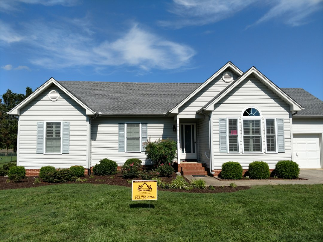 Delmar, DE - Spicer Bros Construction removed one layer of shingles in Delmar, DE and installed new GAF Timberline HD shingles Oyster Gray in color