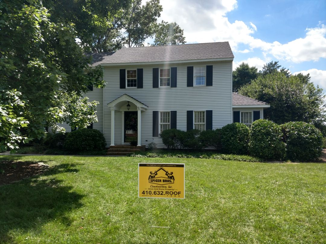 Salisbury, MD - Spicer Bros Construction removed multiple layers in Salisbury, MD and installed new GAF Timberline HD shingles Charcoal in color.