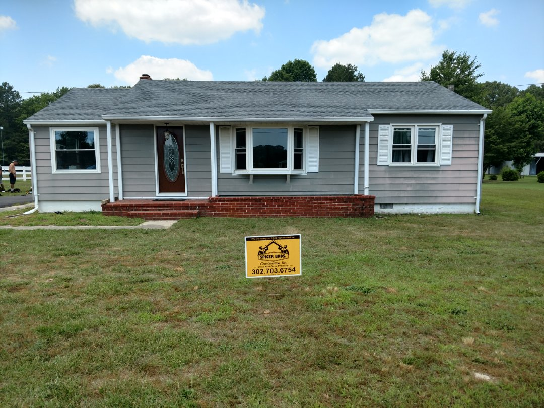 Millsboro, DE - Spicer Bros Construction removed one layer of shingles in Millsboro, DE and installed new GAF Timberline HD shingles Oyster Gray in color.