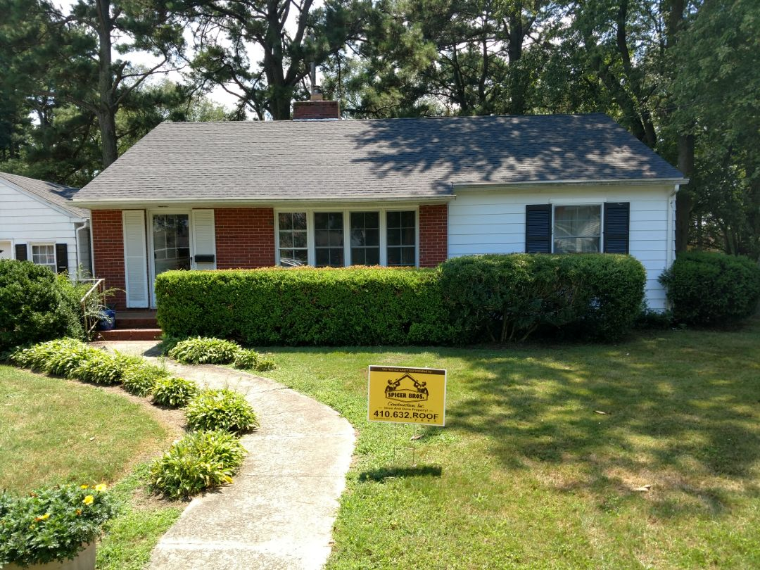 Princess Anne, MD - Spicer Bros Construction removed one layer of shingles in Princess Anne Maryland and installed new GAF Timberline HD shingles Charcoal in color