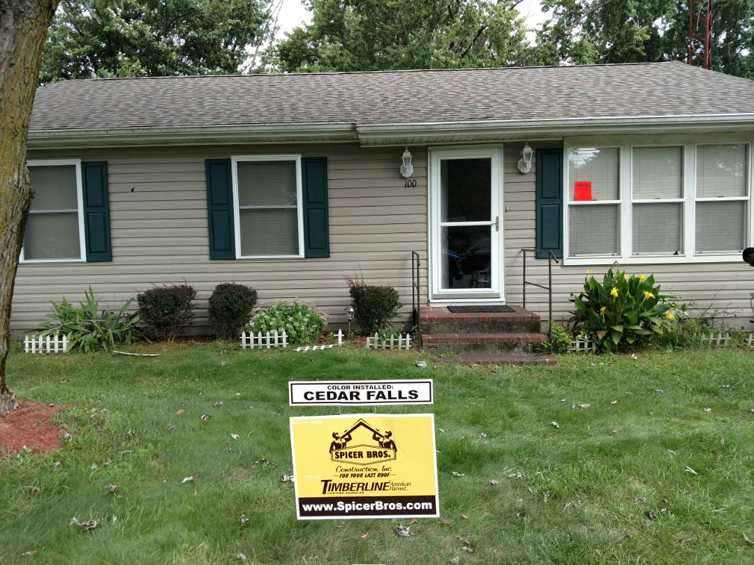 Hurlock, MD - Spicer Bros Construction removed one layer of shingles in Hurlock, MD and installed new GAF Timberline American Harvest Cedar Falls in color.