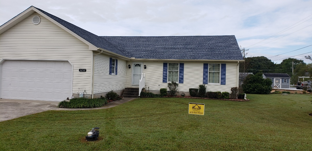 Greenbackville, VA - Spicer Bros Construction removed one layer of shingles from the roof deck and installed new GAF Timberline HD Ultra Shingles, Biscayne Blue in color. Home is located in Greenbackville, VA.
