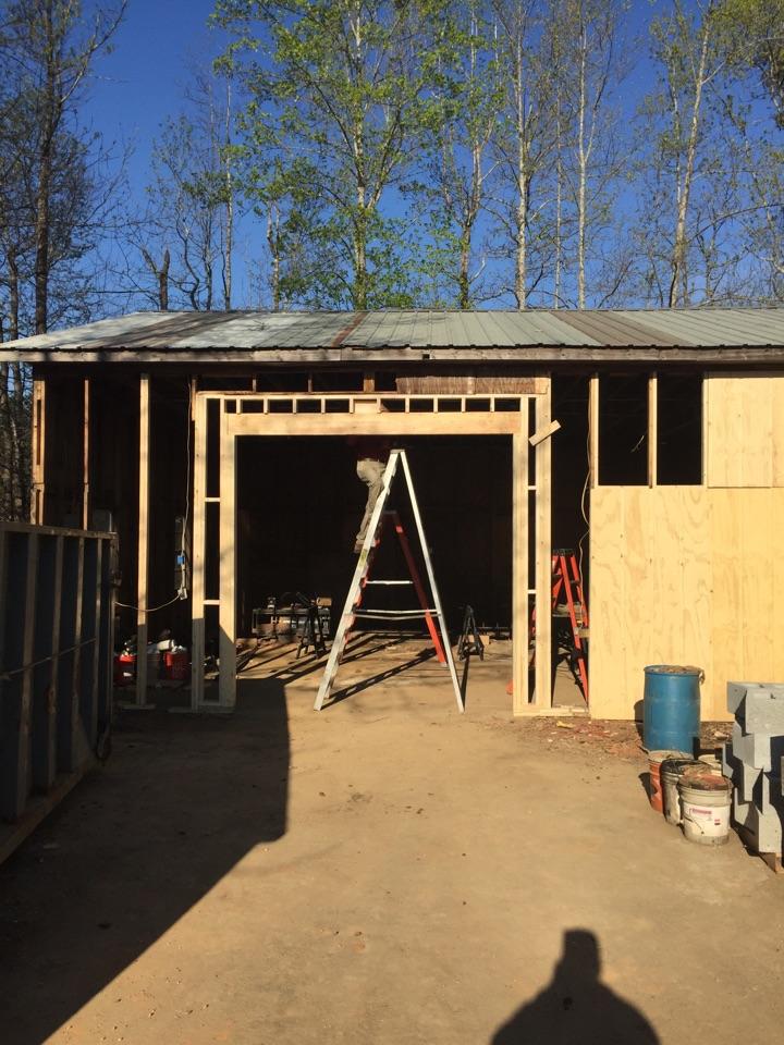 Garage door install. Installing 10x10 garage door.