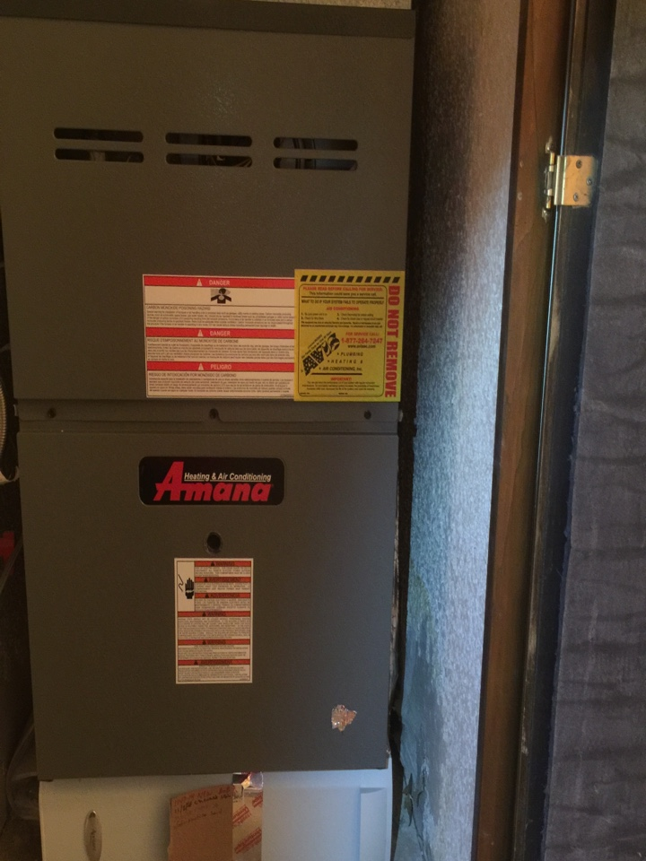 Riverside, CA - Performed prepaid heating maintenance for a gold club member on a 2013 Amana furnace.