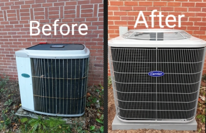 Phenix City, AL - New Carrier gas furnace and AC installation for Mrs. Lowe in Phenix City, AL. Thank you for your continued trust in the team at Express Heating and Air Conditioning.