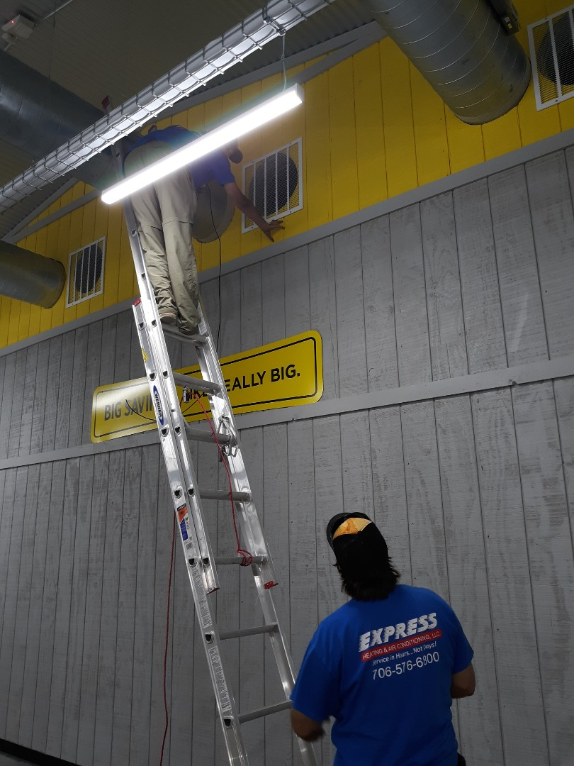 The team at Express Heating and Air Conditioning is here for all your comfort needs. Here's the guys putting on the finishing touches on the HVAC smoke detection at Dollar General in Phenix City!!