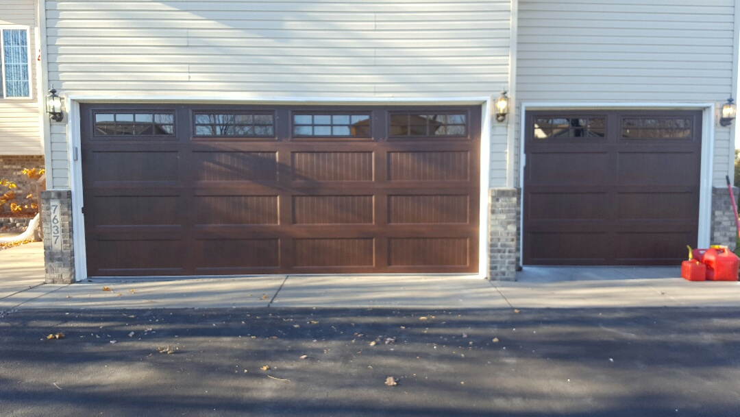 Circle Pines, MN - Jeremy installed 16 by 7 and 8 by 7 garage door and liftmaster garage door opener