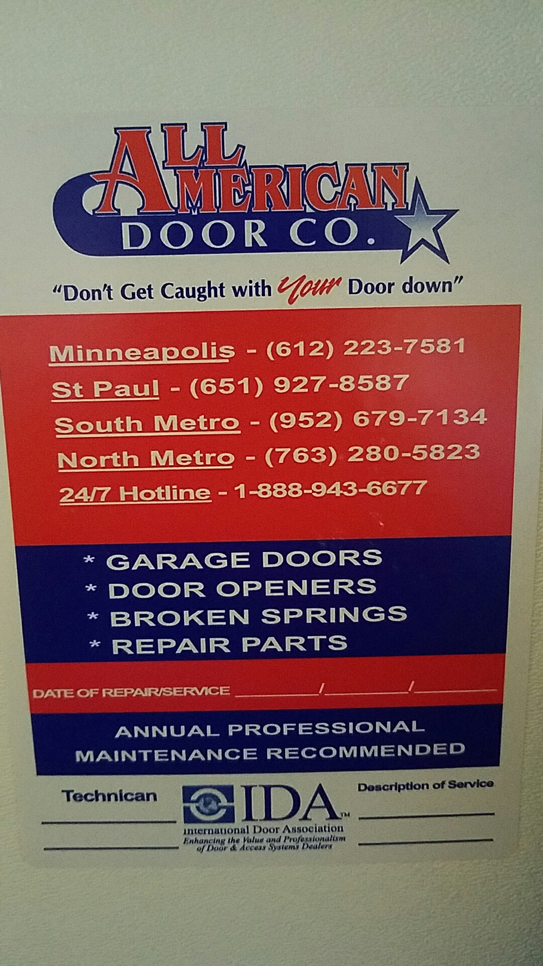 Hugo, MN - Did a garage door tune up