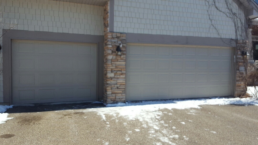 Plymouth, MN - Jeremy installed 16 by 7 and 9 by 7 garage door and liftmaster garage door opener
