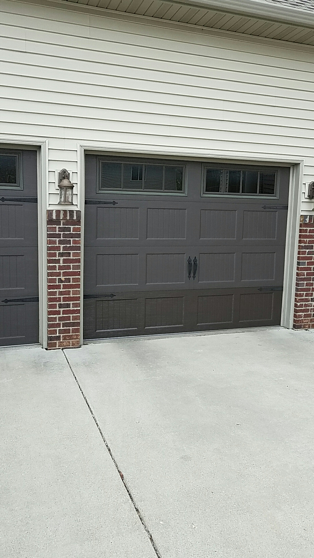 Replaced garage door section