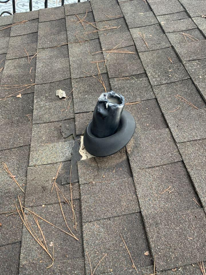 Houston, TX - Roof Leak Repair from squirrels chewing on lead pipe jacks