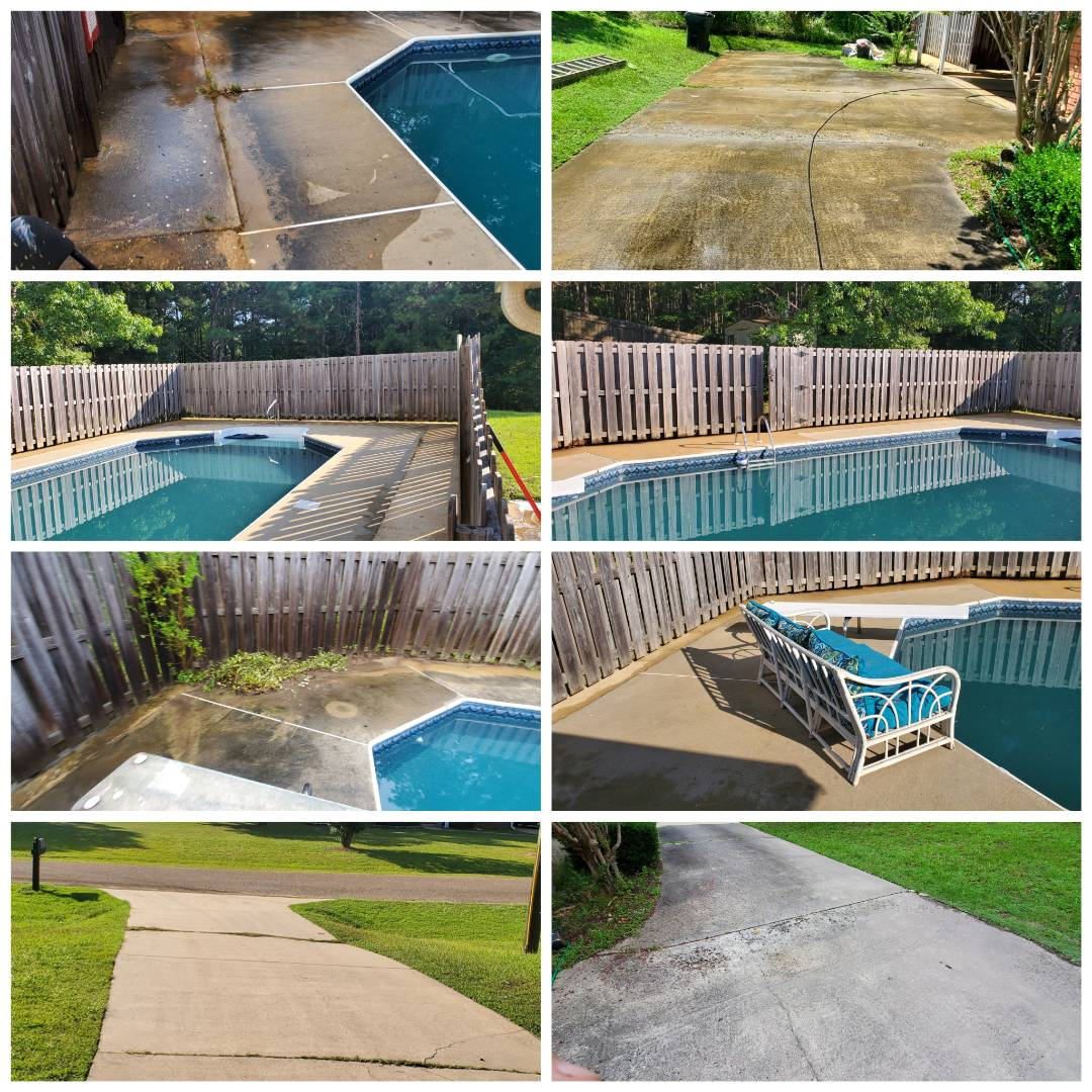 Wetumpka, AL - Cleaned a pool patio, pressure wash driveway, clean carport and patio. Plus a partial roof cleaning, softwash
