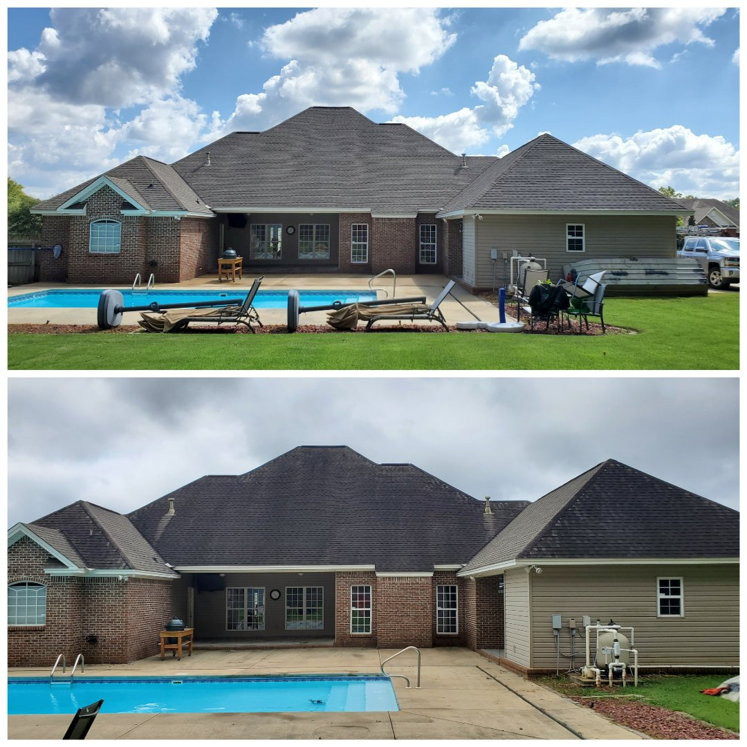 Roof wash, house wash, pressure wash, driveway cleaning,