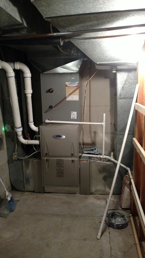 Mapleton, UT - Install 2 furnaces and 1 ac. Power humidifier. Ran new flus for both furnaces and water heater.