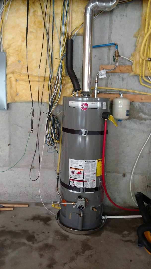 Lehi, UT - Remove 40 gal water heater. Install 50 gal water heater. Install drain pan and expansion tank.