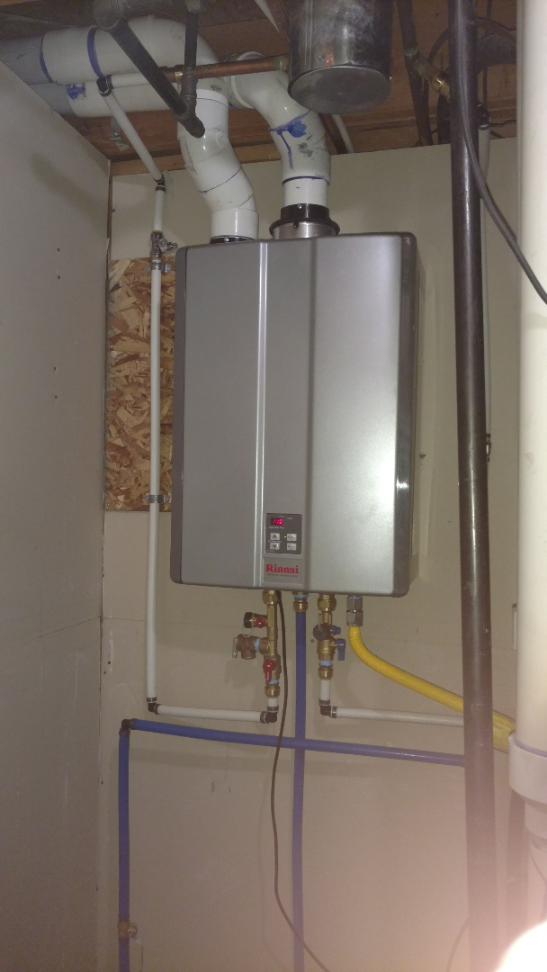 Install tankless water heater.