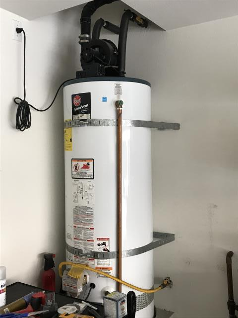 La Mirada, CA - Install new water heater with ball valve, gas flex, supply lines, expansion tank, and gas sed trap. Old water heater removed. Install two new laundry bibs in garage