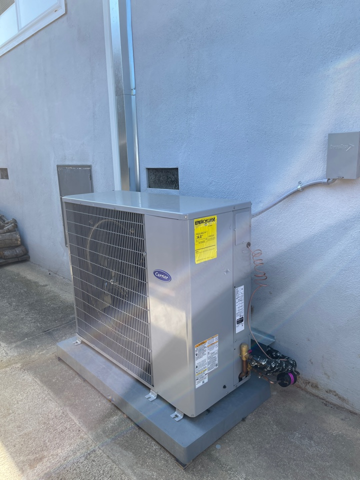 Burlingame, CA - We Installed a 4 Ton Carrier SlimLine AC and Carrier Evap Coil to existing HVAC system.