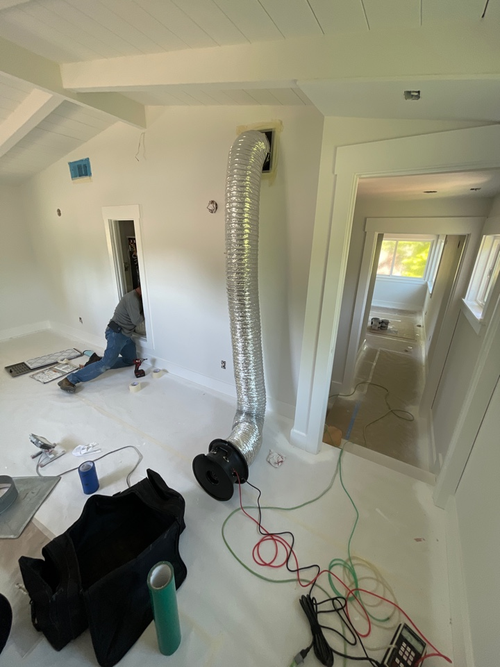 Mountain View, CA - Installing 2 complete new heating systems and ducts work. 2 stage heating for 2 separate zones. Testing ducts for leakage and prepping for HERS test and final inspection.