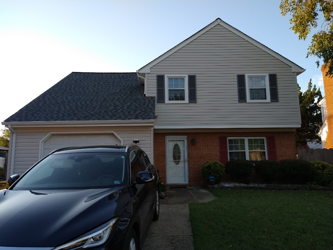 Virginia Beach, VA - Just completed a full exterior job did a full roof replacement Also new siding with all new seamless 5k gutter