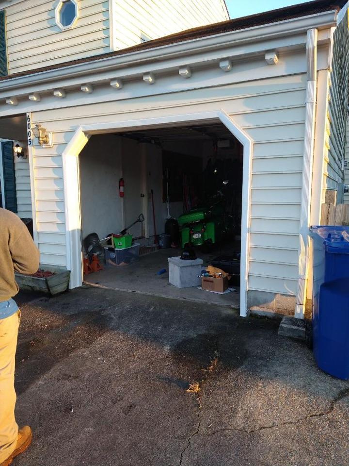 Virginia Beach, VA - Just completed a garage metal wrap and gutter repair