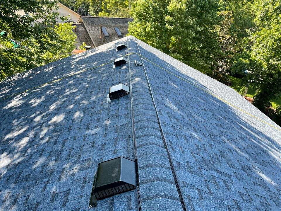 Virginia Beach, VA - Just completed a new roof installation using Owens Conning Duration HD lifetime warranty color Harbor blue with underlinement of U20 Felt Buster High Traction synthetic roofing felt and cobra rigidvent3 for more air air flow in the house