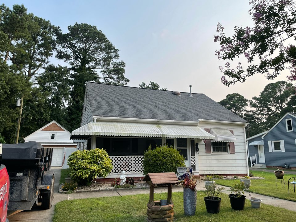 Norfolk, VA - Just completed a new roof installation using Owens Conning Duration HD lifetime warranty color estates grey  with underlinement of U20 Felt Buster High Traction synthetic roofing felt and cobra rigidvent3 for more air air flow in the house