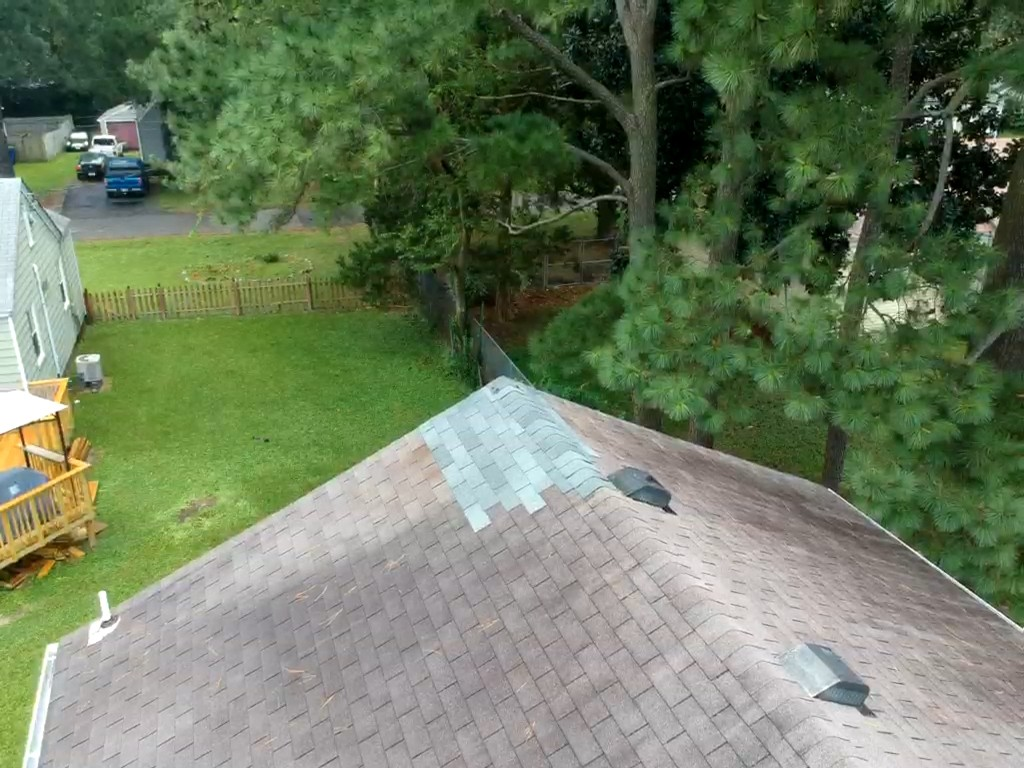 Norfolk, VA - Roof repair, removing chimney and covering with osb and shingles