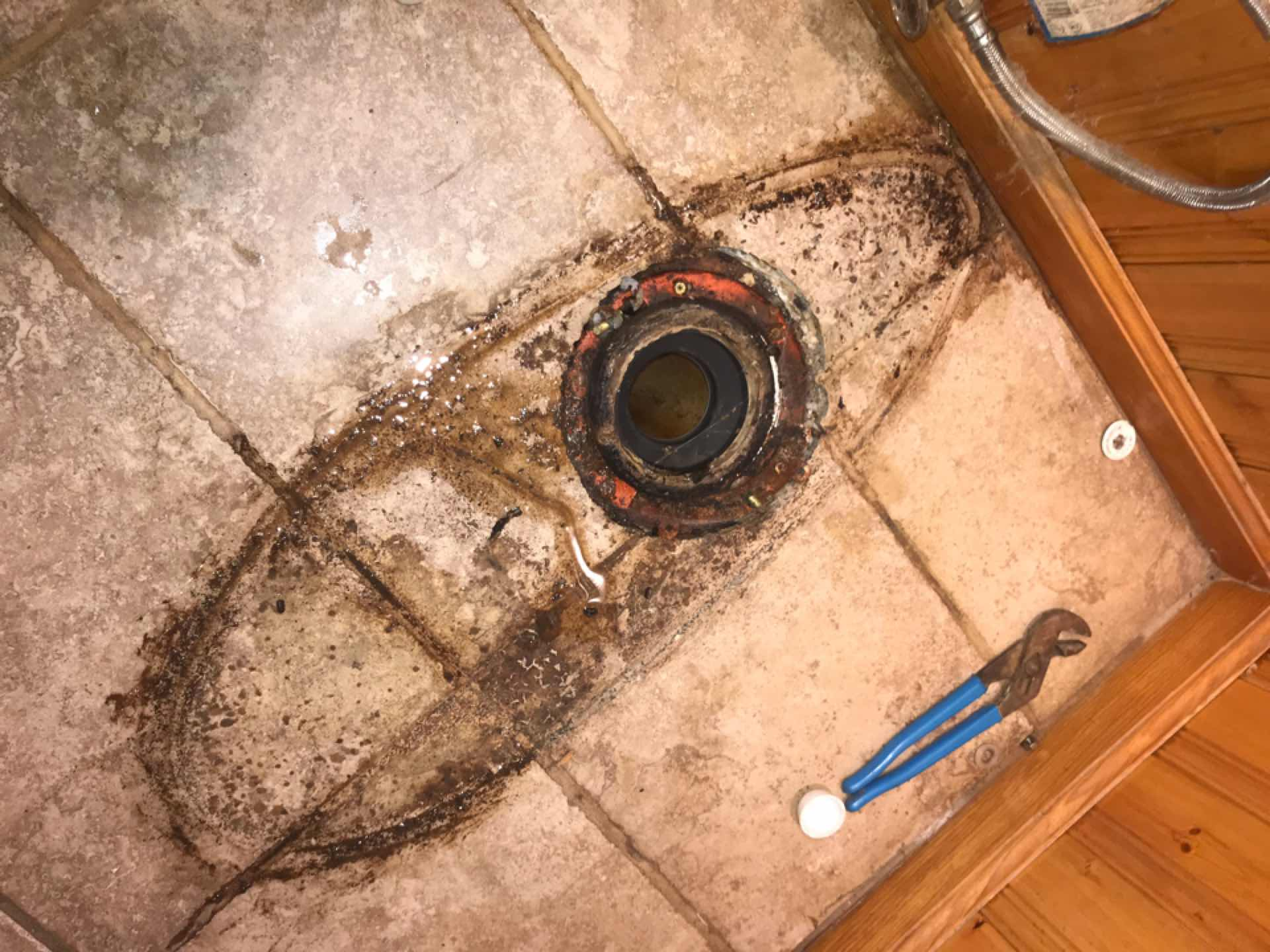 Pearland, TX - Leaking at toilet base replacing wax with jumbo Johni-Ring
